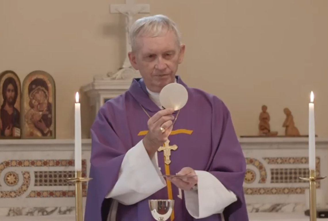 Bishop Patrick Dunn celebrates Mass online Crop