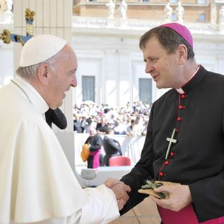 Bishop Steve with Pope Francis