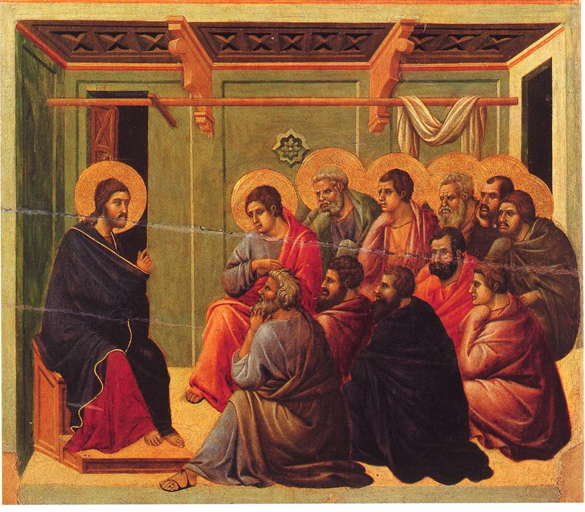 christ taking leave of the apostles duccio